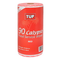 TUF Red Food Service Wipes on a Roll (30cm x 50cm 90 Sheets) - Roll