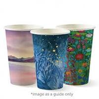 BioPak 12oz Hot Cup Single Wall 80mm _ Art Series (Fits small lids) - Sleeve of 50