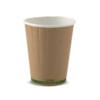 BioPak 12oz Double Wall Hot Cup - Kraft Brown - Sleeve of 40