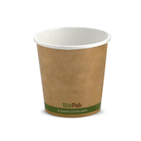 BioPak 04oz Single Wall Hot Cup - Kraft Brown - Sleeve of 50