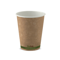 BioPak 08oz Single Wall Hot Cup - Kraft Brown - Sleeve of 50