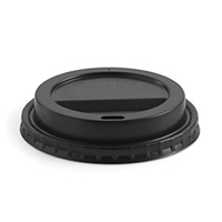 BioPak 12/16/20oz PS Hot Paper Cup Lid - Black - Sleeve of 50