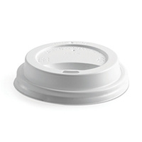 BioPak 12/16/20oz PS Hot Paper Cup Lid - White - Sleeve of 50