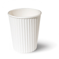 Ripple Wrap Cup 8oz White - Sleeve of 40