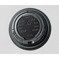 Triple Wall Coffee Cup Lid fits 8/12/16oz - BLACK - Sleeve of 25
