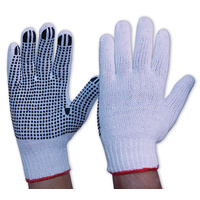 Poly Cotton Work Gloves, White, Dotted - Sleeve of 12 Pairs