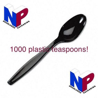 1000x Black disposable plastic teaspoon - spoons, cutlery, catering