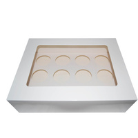 Cupcake Box, Windowed, fits 12 Cakes - Sleeve of 40