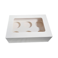 Cupcake Box, Windowed, fits 6 Cakes - Sleeve of 50