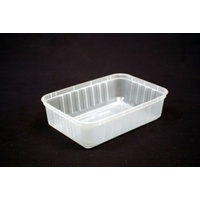 Genfac Rectangle Container 750ml Ribbed Clear - Sleeve of 50