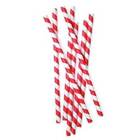 Paper Drinking Straw Striped Red and White - Packet of 250