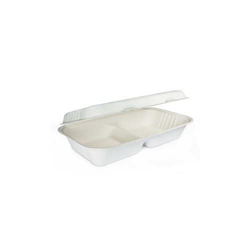 "BioPak Clamshell 11""x6""x3"" - 2 Compartment - Sleeve of 50"