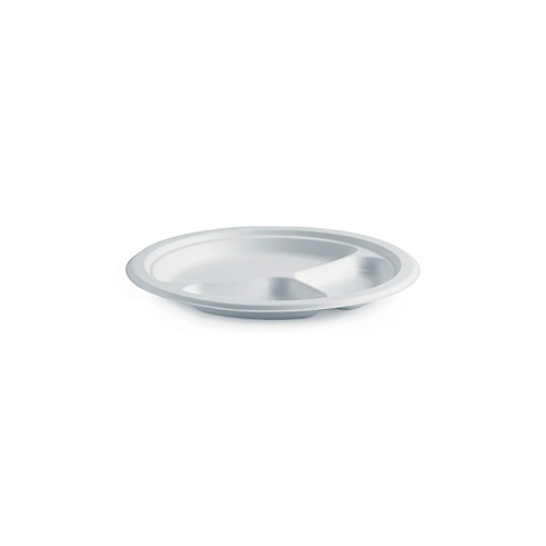 "BioPak 9"" Plate - 3 Compartment - Sleeve of 125"