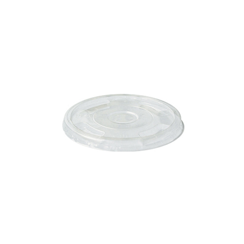 BioPak Clear Cup Lid suit 300-700ml - Flat Straw Slot - Sleeve of 100