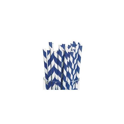 Blue and White Striped Paper Straw Jumbo - Pack of 25